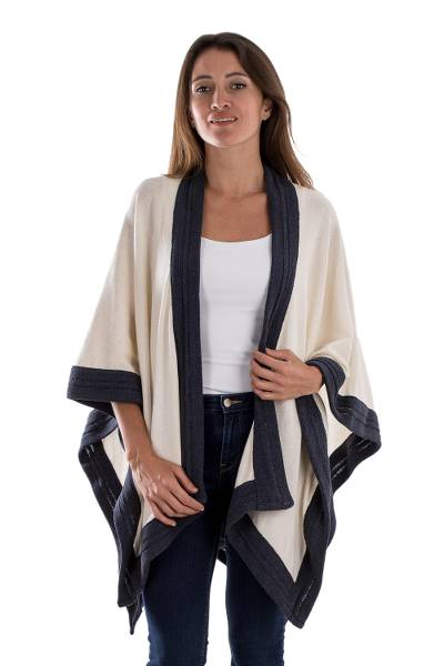 Cotton ruana, 'Natural Life' - Knit Cotton Ruana in Ivory and Blue