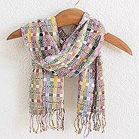 Cotton scarf, 'Pastel Gumdrops' - Backstrap Handwoven Pastel Cotton Scarf from Guatemala