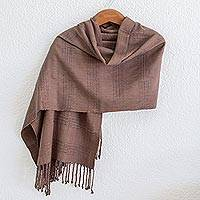 Rayon shawl 'Textured Brown' - Guatemala Backstrap Handwoven Brown Rayon Shawl