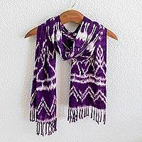 Rayon ikat scarf, 'Silhouette in Purple' - Purple and White Hand Woven Rayon Ikat Scarf