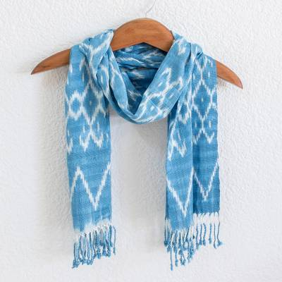 Rayon ikat scarf, 'Silhouette in Cyan' - Rayon Ikat Scarf in Light Blue and White