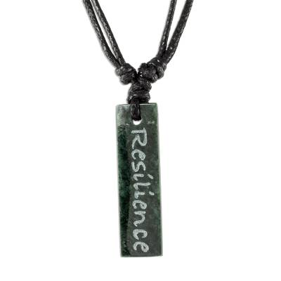 Jade pendant necklace, 'Remember Your Resilience' - Resilience Jade Message Pendant Necklace