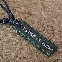 Jade pendant necklace, 'Remember Now is the Time' - Motivational Message Jade Pendant Necklace