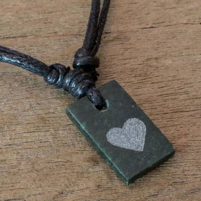 Jade pendant necklace, Heart Talisman