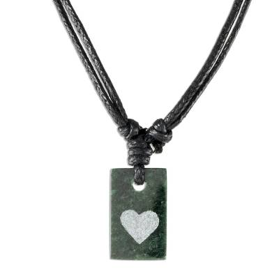 Jade pendant necklace, 'Heart Talisman' - Heart Motif Unisex Jade Pendant Necklace