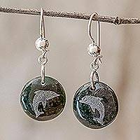 Jade dangle earrings, 'Love of Nature - Dolphin'