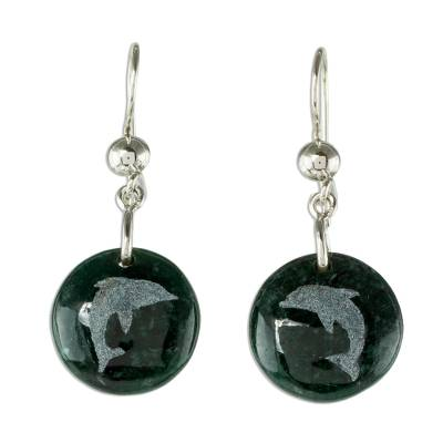 Jade dangle earrings, 'Love of Nature - Dolphin' - Sterling Silver and Jade Dolphin Dangle Earrings