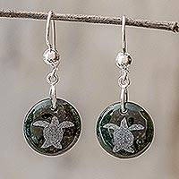 Jade dangle earrings, 'Love of Nature - Turtle'