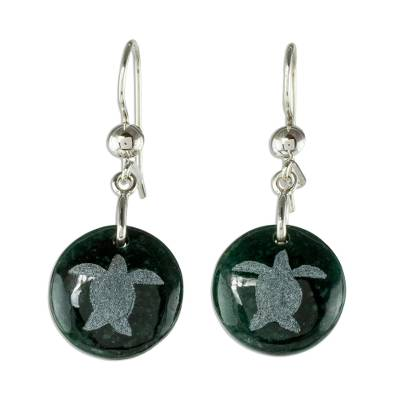 Jade dangle earrings, 'Love of Nature - Turtle' - Sterling Silver and Jade Turtle Dangle Earrings