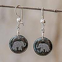 Jade dangle earrings, 'Love of Nature - Elephant' - Sterling Silver and Jade Elephant Dangle Earrings