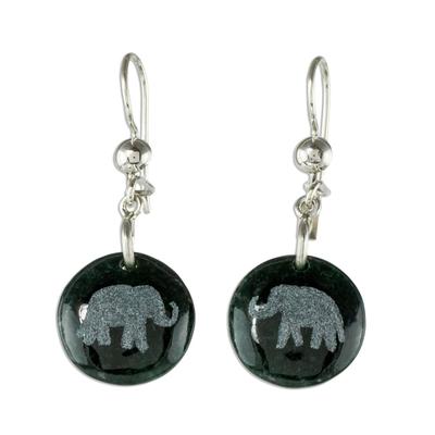 Jade dangle earrings, 'Love of Nature - Elephant' - Sterling Silver and Jade Elephant Dangle Earrings