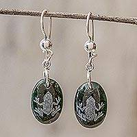 Jade dangle earrings, 'Living Nature - Frog' - Sterling Silver and Jade Frog Dangle Earrings