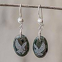 Jade dangle earrings, 'Nature of God - Eagle' - Sterling Silver and Jade Eagle Dangle Earrings