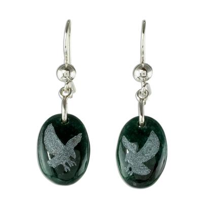 Jade dangle earrings, 'Nature of God - Eagle' - Sterling Silver and Jade Eagle Dangle Earrings