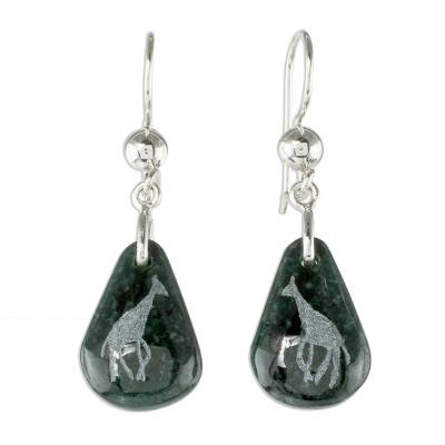 Jade dangle earrings, 'Living Nature - Giraffe' - Sterling Silver and Jade Giraffe Dangle Earrings