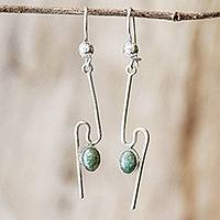 Jade dangle earrings, 'On the Curve in Light Green' - Handmade Light Green Jade Dangle Earrings