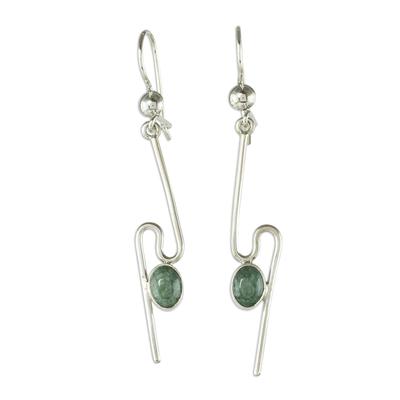 Jade dangle earrings, 'On the Curve in Light Green' - Handmade Light Green Jade Dangle Earrings