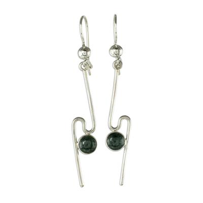 Dark Green Jade and Silver Dangle Earrings