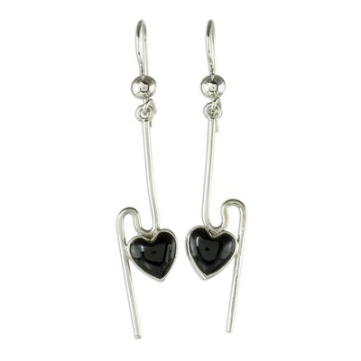 Jade dangle earrings, 'On the Curve in Black' - Sterling Silver and Black Jade Earrings