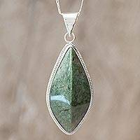 Jade pendant necklace, 'Refined Ridge'