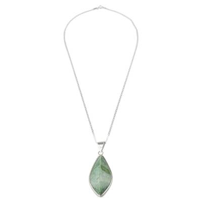 Jade pendant necklace, 'Refined Ridge' - Green Jade and Sterling Silver Pendant Necklace