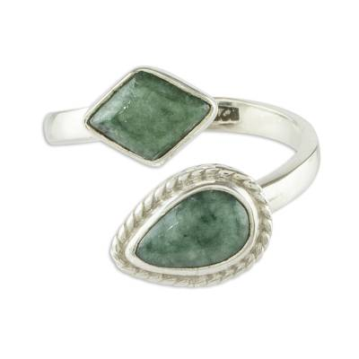 Jade wrap ring, 'Odds and Ends' - Handmade Jade Wrap Ring from Guatemala