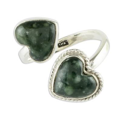 Jade wrap ring, 'When Two Hearts Meet' - Heart-Shaped Jade Wrap Ring