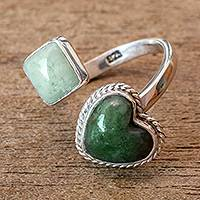 Jade wrap ring, 'At Odds' - Natural Guatemalan Jade Wrap Ring
