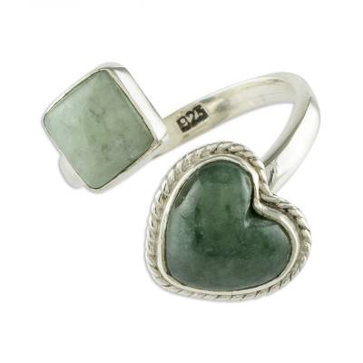 Jade wrap ring, 'At Odds' - Natural Guatemalan Jade Wrap Ring