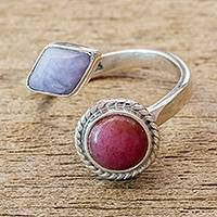 Jade and rhodonite wrap ring, 'Chance Encounter' - Rhodonite and Lilac Jade Wrap Ring
