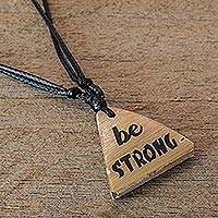 Bamboo pendant necklace, 'Being Strong' - Handmade Be Strong Bamboo Pendant Necklace