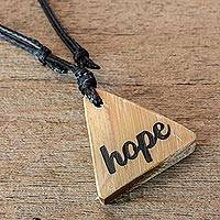 Bamboo pendant necklace, 'Always Hope' - Hope Necklace Hand Crafted from Bamboo