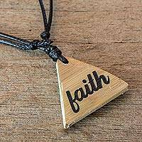 Bamboo pendant necklace, 'Always Have Faith' - Unisex Bamboo Faith Pendant Necklace