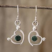 Jade dangle earrings, 'Ancestral Love' - Sterling Silver and Jade Heart Dangle Earrings