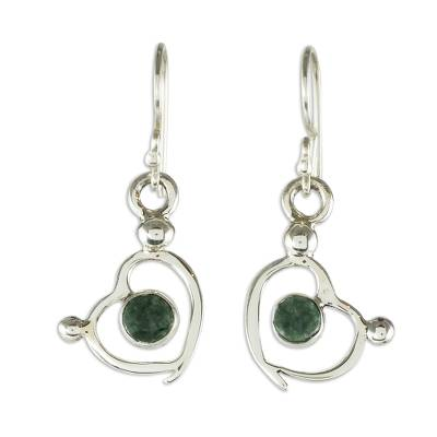 Jade dangle earrings, 'Ancestral Love' - Sterling Silver and Jade Heart Dangle Earrings