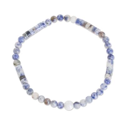 White Jade and Sodalite Beaded Bracelet