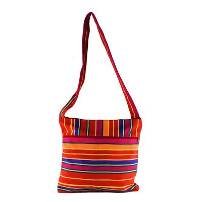 Colorful Striped Cotton Shoulder Bag
