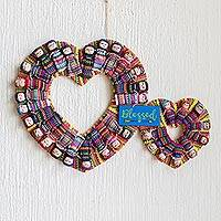 Cotton worry doll wreath, 'Hearts are Blessed' - Handmade Guatemalan Worry Doll Double Heart Wreath