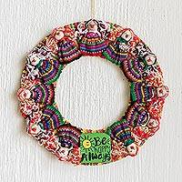 Cotton worry doll wreath, 'Be Happy Always' - Handmade Guatemalan Worry Doll Happy Wreath