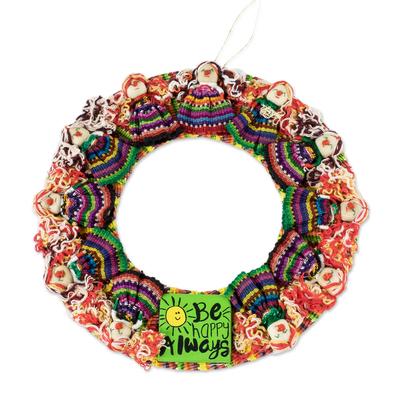 Cotton worry doll wreath, 'Be Happy Always' - Handmade Guatemalan Worry Doll Happy Wreath