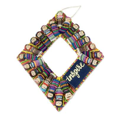 Cotton worry doll wreath, 'Inspire' - Handmade Maya Worry Doll Inspirational Wreath