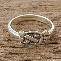 Sterling silver cocktail ring, 'Hunters and Fishermen' - Mayan Silver Date Glyph for Hunters & Fishermen Unisex Ring