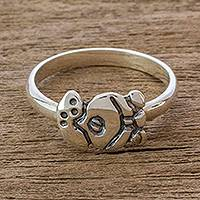 Sterling silver cocktail ring, 'Ripe Maize Glyph' - Mayan Sterling Silver Maize Glyph for Nature Unisex Ring