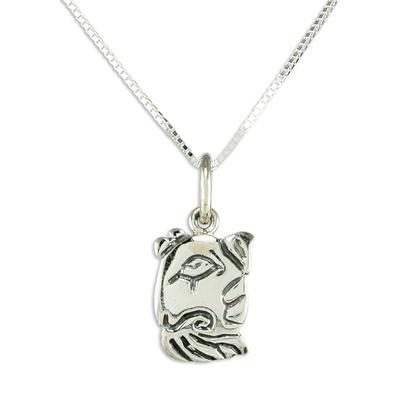 Guatemalan Sterling Silver Maya Dog Glyph Necklace