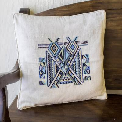 Cotton cushion cover, 'Maya Bird' - Hand Crafted Maya Bird Motif Cushion Cover