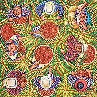 'Harvesting Coffee' - Birds-Eye-View Painting of the Guatemala Coffee Harvest