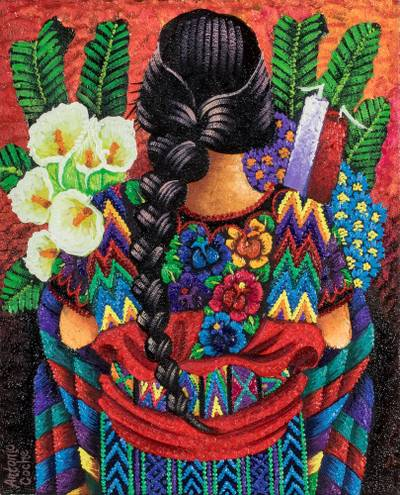 'Traditional Colors' - Signed Oil Painting of Guatemalan Woman