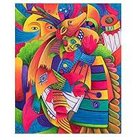 'Dance of the Deer II' - Colorful Guatemalan Deer Dancer 16 x 20 Inch Oil Painting