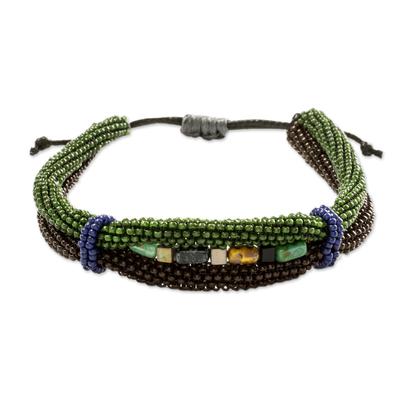 Beaded unity bracelet, 'Earth in Union' - Handmade Earth Color Beaded Guatemalan Unity Bracelet