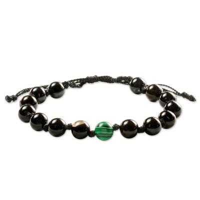 Black Onyx & Green Malachite Unity Bracelet from Guatemala